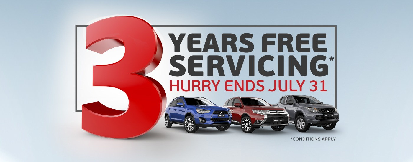 Mitsubishi Special Offers July 2016 3 years free servicing